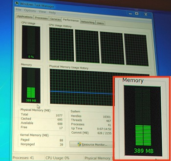 ... whereas the Windows 7 system demanded nearly 390MB of memory.