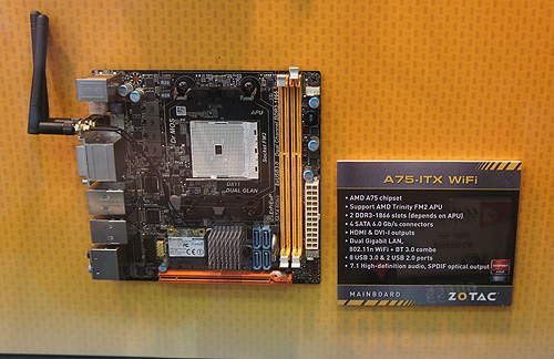 Staying true to the company's specialization in mini-ITX motherboards, the A-75-ITX WIFI is based on the A75 chipset with WIFI connectivity that supports the yet to be released Trinity desktop APUs.
