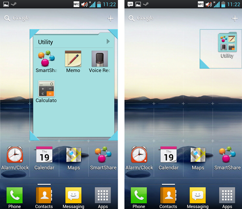 Simply long press on the widget (in this case, a folder) to resize the icon.
