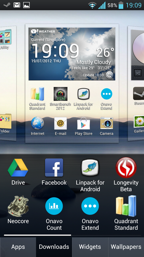 Like Sense 4.0 UI, long-pressing any home screen on the LG Optimus 4X HD allows you to add apps, widgets, shortcuts or change wallpapers. Doing the same on the stock Android 4.0 will launch the app drawer instead.