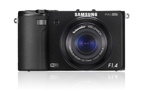 The unassuming Samsung EX2F Smart camera and its built-in fast F1.4 lens.