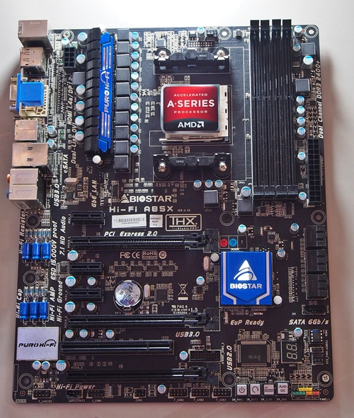 Biostar Hi-Fi A85X motherboard as seen at the company's booth in Computex 2012.