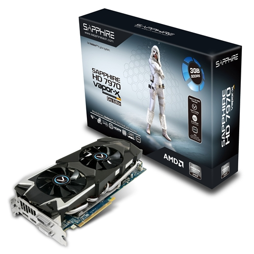 The Sapphire HD 7970 3GB Vapor-X Edition is touted to deliver similar performance; however, it sports a less sophisticated 8-phase power delivery system. It also lacks the Dual BIOS button found on the 6GB version.