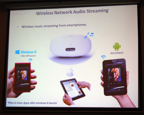 With the help of AirPlay and wireless connectivity, the Denon Cocoon will stream music from any device; be it iOS, Android or Windows Mobile 8.