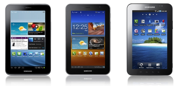The Samsung Galaxy Tab 2 (7.0) 3G on the left, the Galaxy Tab 7.0 Plus in the center, and its predecessor, the original Galaxy Tab on the right.