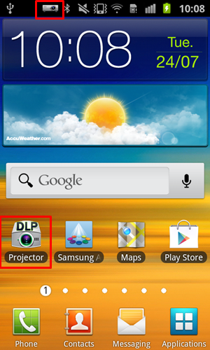 a0064380685c26 Click on the Projector app to access the Samsung Galaxy Beam's key  features. You can