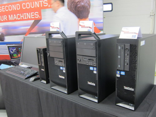 ThinkStations come in many variations and sizes, so the real challenge will be finding one which suits your organization. The small form factor E31 model is the left-most unit in this photo.