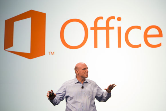 Microsoft CEO Steve Ballmer announcing the customer preview of the new Microsoft Office. (Image source: Microsoft)