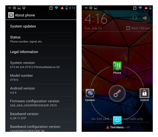 The Motorola Razr Maxx runs on the latest version of Ice Cream Sandwich (Android 4.0.4). Similar to the Samsung Galaxy S III and HTC One X, you can access four shortcuts from the lock screen.