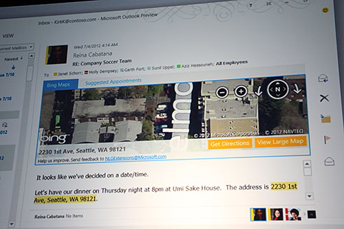 Two 'add-ons' - Bing Maps and Suggest Appointments - being integrated in Outlook. In this example, you can highlight an address, and have Bing Maps show you where it is on the map, right within the message.