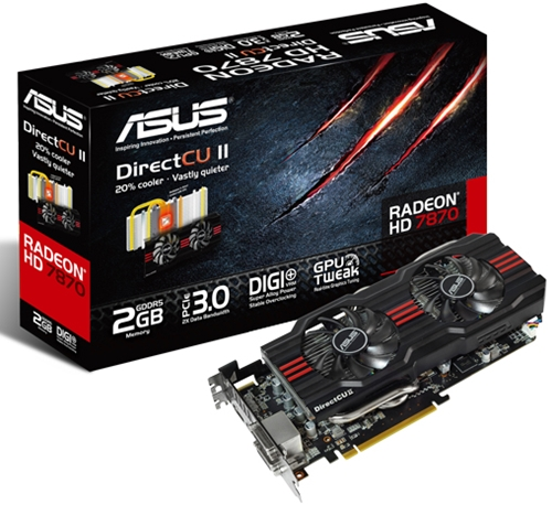 The ASUS HD 7870 DirectCU II graphics card.