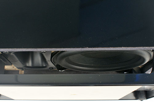 A glimpse of the base of the 5.2kg downward-firing subwoofer.