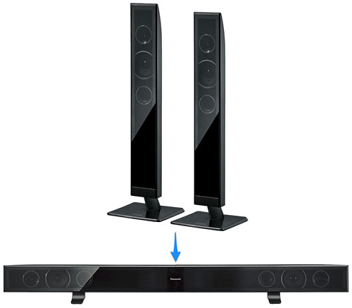 So, you now have the TV mounted to the wall, and want to place the speakers below it? Just join the two standing speakers together to get a horizontal sound bar.