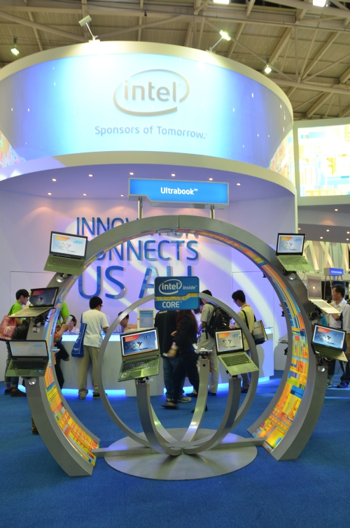 Intel's booth at COMPUTEX 2012 focused on Ultrabooks
