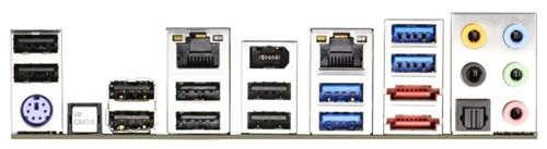 There are two Gigabit LAN ports as well as an IEEE 1394 port. There is no shortage of USB ports with its eight USB 2.0-compliant ones as well as four USB 3.0 ports. There is also a pair of eSATA 6Gbps ports, courtesy of its onboard Marvell 9172 controller.