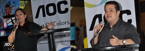 Ula Ladrillo (Left) and Jay Rañola of EA Global, distributor of AOC monitors.