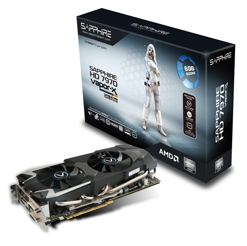 The Sapphire HD 7970 6GB Vapor-X Edition features a Dual BIOS button that will boost its the core clock speed from 1000MHz to 1050 MHz. Its high-end features include a 10-phase power delivery system and double sided Black Diamond chokes, mounted on a 12-layer PCB board.