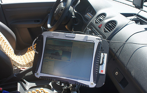 Deployed as a team of two, the driver drives (obviously) while his colleagues makes updates on the tablet PC.