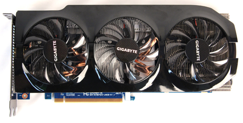 Gigabyte's HD 7870 OC is the only model in our shootout using a triple-fan cooling system, Gigabyte's Windforce 3X.