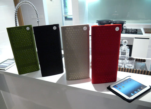 Only the red, grey, and black speaker covers are currently available in Singapore. If you are wondering, the red model costs a little more due to the dye required to ink the Italian cashmere.
