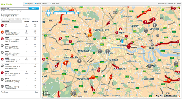 A look at HD Traffic at work. Here, we can see the major holdups and congestion in London. This is all real time (as much as technically and physically possible).