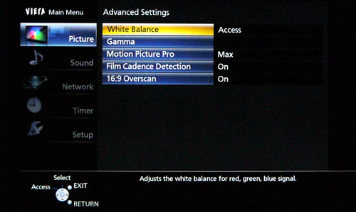 Advanced picture adjustments like White Balance and Gamma have to be enabled via the TV's Setup menu before they are accessible under the Advanced Settings screen. We wonder why there's a need to hide these options by default as they aren't options that would cause potential harm to the TV.