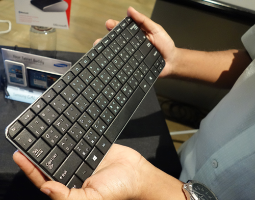 The Wedge Mobile Keyboard features a full-sized keyset but remains relatively small. This is the Chinese version, the Singapore version will not include the chinese characters. It will be available at the end of August for $99.