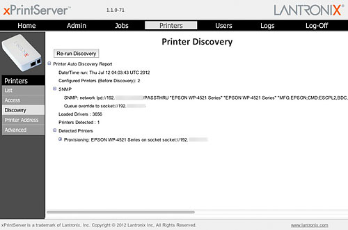 If you've new printers attached to the network after the xPrintServer is already up and running, just re-run the discovery process to detect them. The SNMP field will show you the configuration information of the discovered printer.