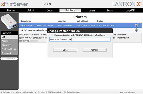 Especially when you've a lot of printers, sometimes it's easier to identify a particular one based on its location. This field can be edited via the Change Location setting.