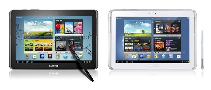 The old unreleased GALAXY Note 10.1 (left) vs. the new version (right) that will retail in the channels really soon.