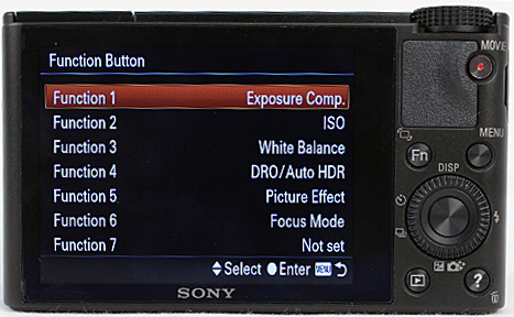Various settings can be assigned to the Function button in the respective menu.