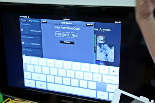 Shown here is the WD 2go iOS application where the end-user is required to enter the unique activation code. Upon a successful authentication procedure, the end-user would have access to the device, a private cloud without technical hassles.
