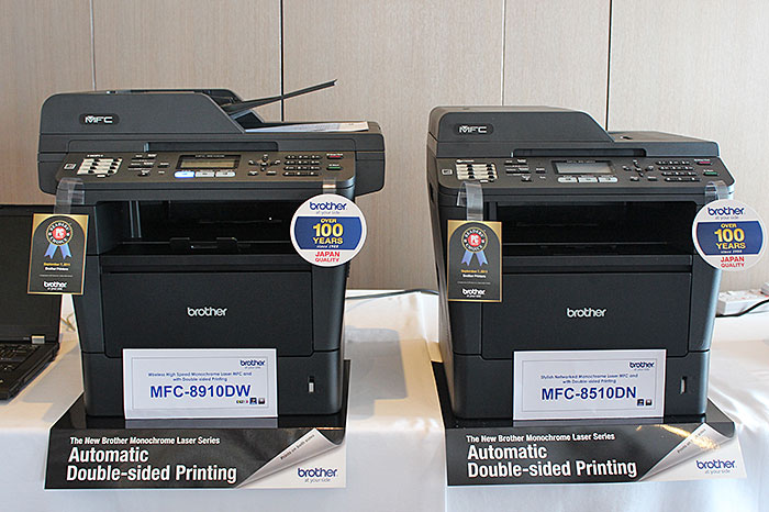 For S$1,088, the MFC-8910DW (left) gives you 40ppm print speed, up to 800 sheets paper input capacity, a 50-sheet duplexing ADF, and wireless connectivity.