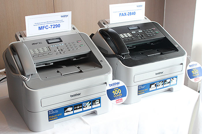 The laser fax MFC models are easy to differentiate from the rest thanks to the built-in handset.
