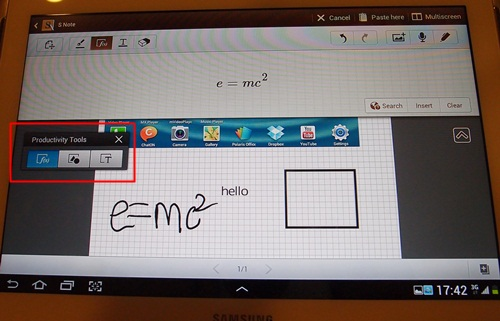 Select from three unique Productivity Tools (as seen on the floating toolbox) - Formula Match, Shape Match and Text Recognition. Formula Match identifies the formula you have written down on your tablet and allows you to search it on the web. Shape Match automatically converts your ugly hand-drawn geometric shapes into accurate digital representations. Lastly, the Text Recognition digitizes your handwritten text.
