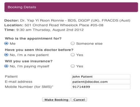 A preview of how the booking system will look like. <br> Image source: DocDoc