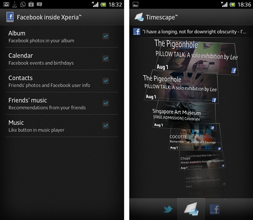 Facebook inside Xperia allows users to integrate content from their Facebook account with apps like Calendar and Album. Recommended music videos or audio clips posted by friends on your Facebook can be separately viewed on a widget available for the phone. Timescape makes a reappearance here - as an option to link your Facebook and Twitter news feeds into one stream.