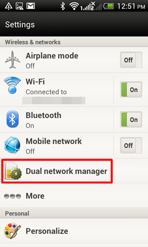 You can manage your dual SIM cards under the Dual Network Manager feature. Simply navigate to Settings.