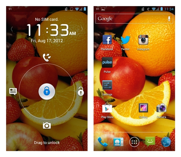 Left: The unlock screen allows you to swipe to any of the four shortcuts. You can customize which shortcut to show via Settings > Security > Shortcut Settings. <br> Right: The main home screen looks no different from that of the Samsung Galaxy Nexus and ASUS PadFone.
