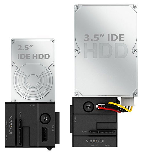 Use the removable adapter to connect to IDE drives.