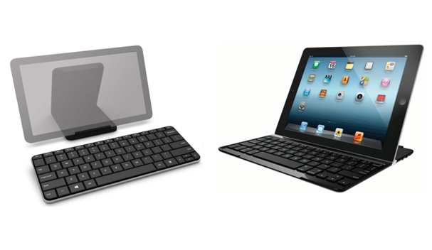We pit the Microsoft Wedge Mobile Keyboard (left) against the Logitech Ultrathin Keyboard Cover (right).