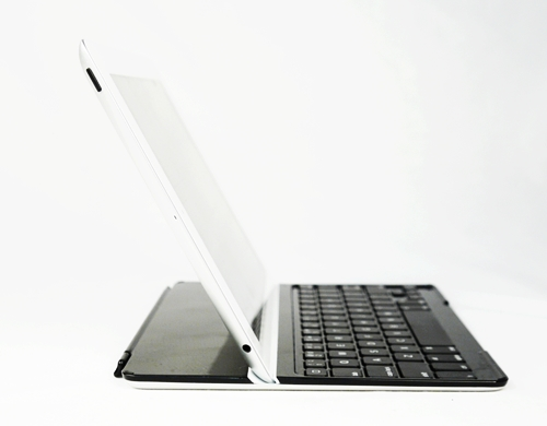 The Logitech keyboard only allows you to prop your iPad at one angle. On the plus side, the accessory is less bulky than its Microsoft counterpart since it's purpose built for the iPad.