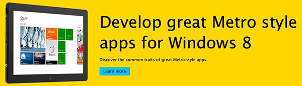 Some quarters at Microsoft are still using the 'Metro' name. (Screenshot from: Windows Dev Center.)