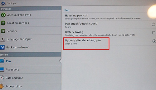 Yep, that's right. There's a section under Settings dedicated to the S Pen, including actions to take after detaching the pen. From what we saw, these options include opening S Note, S Planner, Crayon physics, PS Touch and Polaris Office. Do note that only one app can be mapped to this action; for multiple shortcuts, you can select the Shortcuts toolbar as an option (see previous picture).
