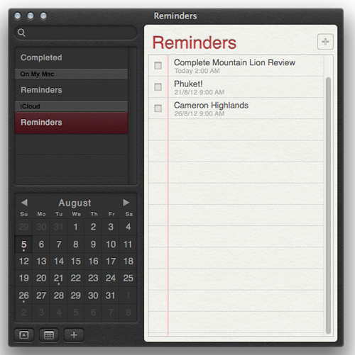 The new Reminders app works just like its iOS counterpart. Note reminders won't show up in your Calendar.