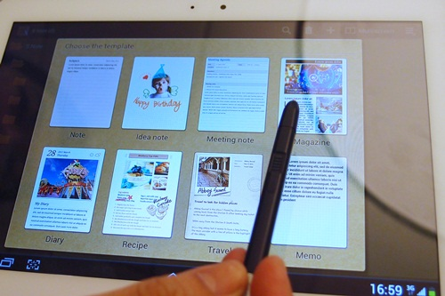 The S Note gives users the ability to combine notes and sketches with other digital content in ready-to-use templates.