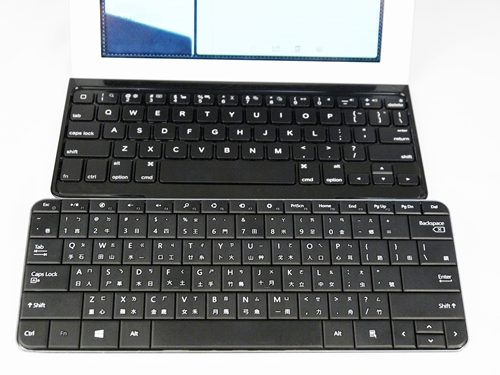 The chiclet-styled Logitech keyboard is reminiscent of Apple's own bluetooth keyboard. We preferred the Microsoft Wedge keyboard because of its familiar 'old-school' design and wider keys that make for easier typing.