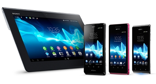 From left to right: Sony Xperia Tablet S, Xperia T, Xperia V and Xperia J <br> Image source: Sony