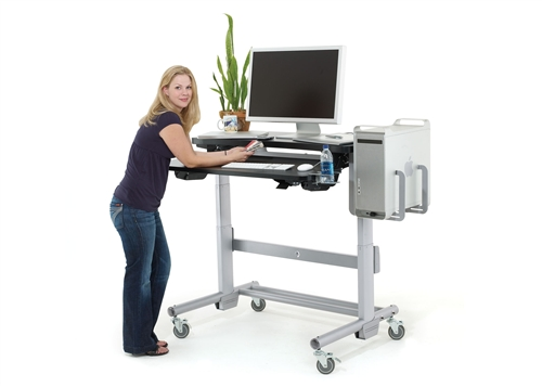 Standing desks provide an ideal height for people to use their computers, but they can be quite pricey.