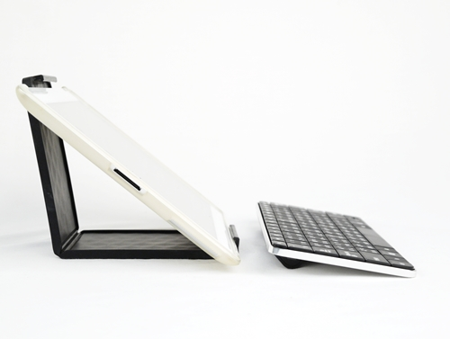 The Microsoft Wedge Mobile Keyboard allows you to prop your tablet at a right angle with your case on!